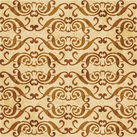 Retro brown cork texture grunge seamless background spiral cross frame crest