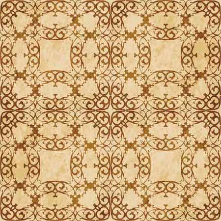 Retro brown cork texture grunge seamless background spiral curve cross royal frame crest