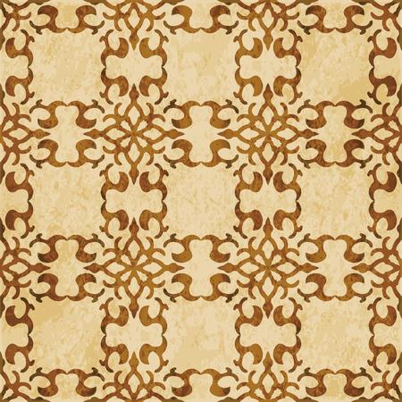 Retro brown cork texture grunge seamless background curve spiral cross frame crest