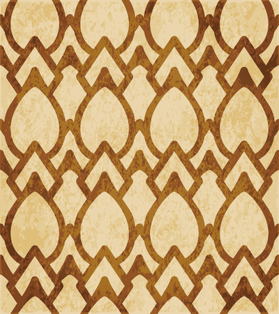 Retro brown cork texture grunge seamless background curve cross frame oval geometry