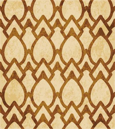 Retro bruin kurk textuur grunge naadloze achtergrond kromme cross frame ovale geometrie