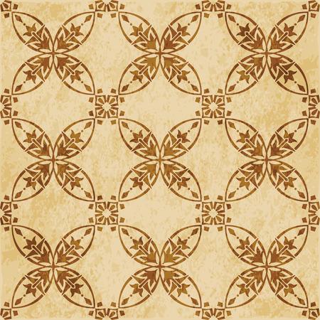 Retro brown cork texture grunge seamless background curve round cross frame vine flower