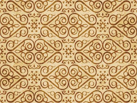 Retro brown cork texture grunge seamless background check spiral curve cross frame vine flower