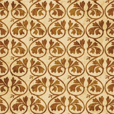 Retro brown cork texture grunge seamless background curve cross spiral vine plant leaf