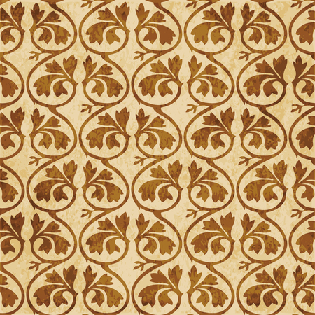 Retro brown cork texture grunge seamless background curve cross spiral vine plant leaf Illustration