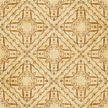 Retro brown cork texture grunge seamless background check curve spiral vortex cross frame vine Stock Vector - 103620315