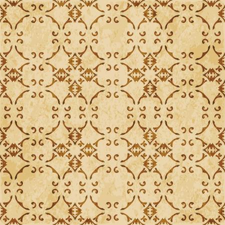 Retro brown cork texture grunge seamless background spiral curve cross frame chain vine Stock Vector - 103620260