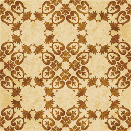Retro brown cork texture grunge seamless background spiral curve cross botanic plant flower