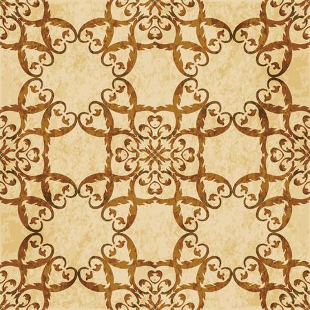 Retro brown cork texture grunge seamless background spiral curve cross plant leaf frame