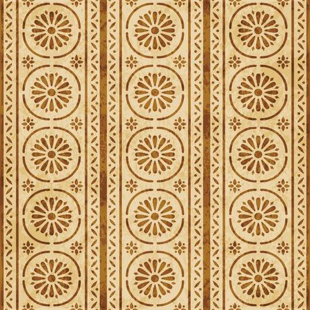 Retro brown cork texture grunge seamless background round curve cross frame line flower