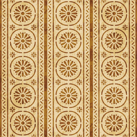 Retro brown cork texture grunge seamless background round curve cross frame line flower