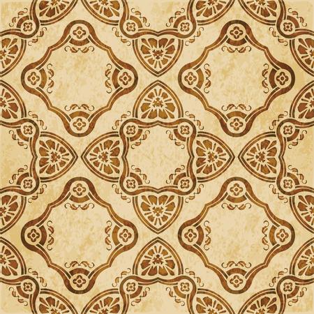 Retro brown cork texture grunge seamless background curve check cross frame line garden flower