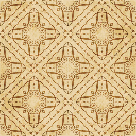 Retro brown cork texture grunge seamless background check spiral curve vortex cross frame vine