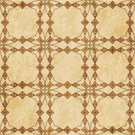 Retro brown cork texture grunge seamless background curve polygon cross frame diamond check gem
