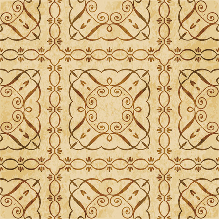 Retro brown cork texture grunge seamless background curve spiral square cross frame vine line