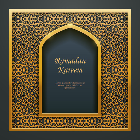 Ramadan Kareem Islamic design mosque door window tracery, ideal for oriental greeting card web banner design.