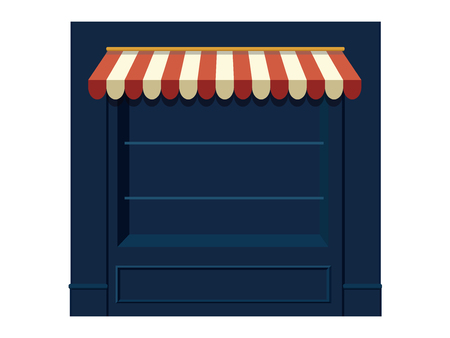 Window Shopping show case wall with awning, vecotr cartoon object