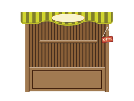 Wooden outdoor stall, vecotr cartoon object Stock Illustratie