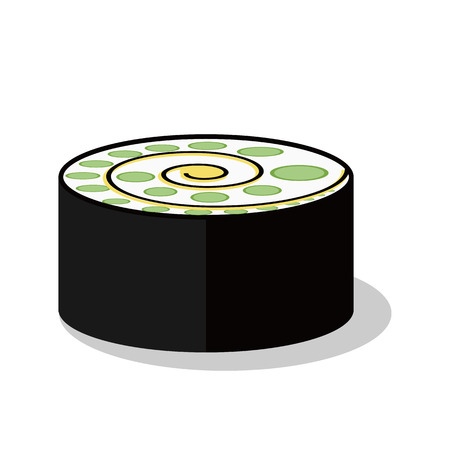Traditional Japanese food of sushi, delicious Asian cuisine vector cortoon object. Stock Vector - 106387844