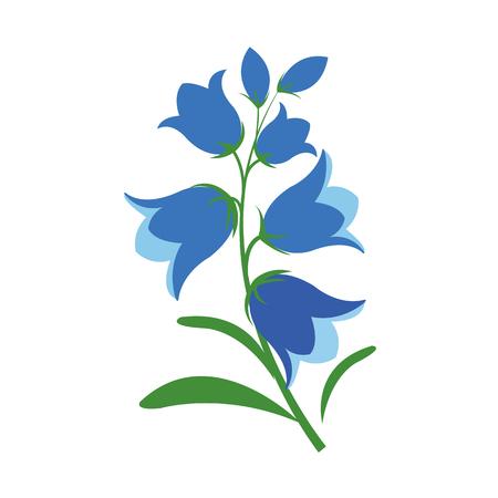 Nature flower bluebell flower, vector botanic garden floral leaf plant. Illusztráció