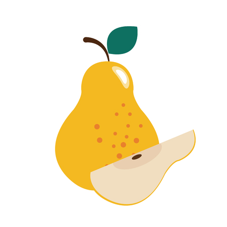 Healthy organic pear, colorful tropical nature fresh fruit objects. Illustration