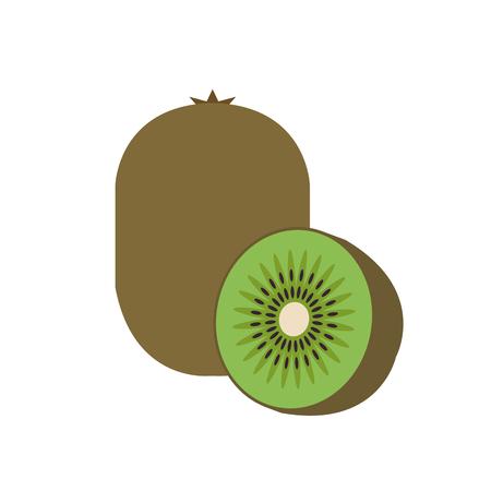 Healthy organic kiwi, colorful tropical nature fresh fruit objects. Illustration