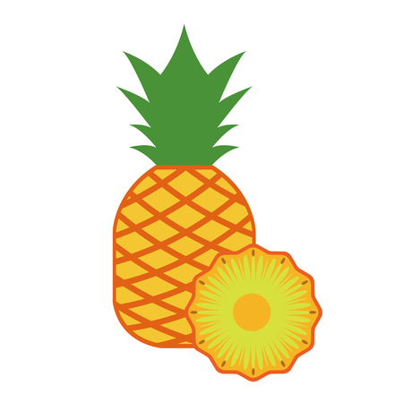 Healthy organic pineapple, colorful tropical nature fresh fruit objects.