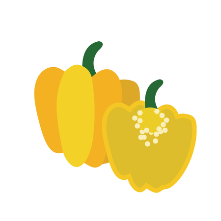 Nature organic vegetable Yellow Scotch bonnet pepper, healthy vector colorful food vegetable spice ingredient.