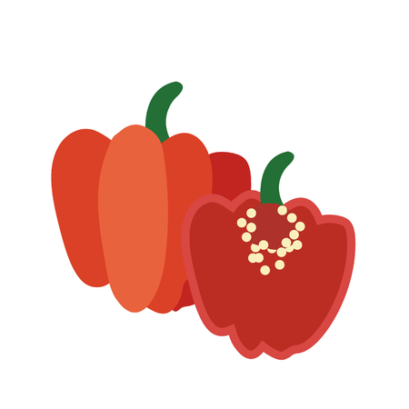 Nature organic vegetable Red Scotch bonnet pepper, healthy vector colorful food vegetable spice ingredient.