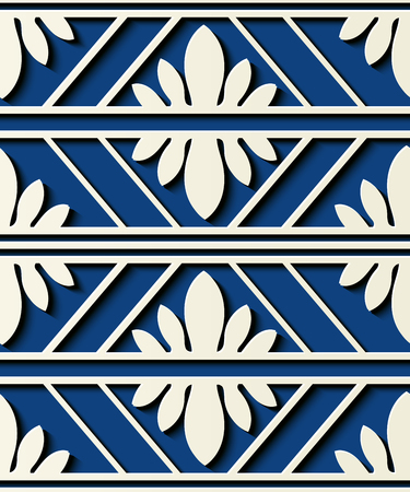 Seamless relief sculpture decoration retro pattern check polygon cross frame line flower abstract. Ideal for greeting card or backdrop template design