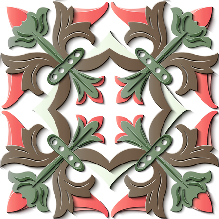 Seamless relief sculpture decoration retro pattern spiral curve cross leaf flower bud. Ideal for greeting card or backdrop template design