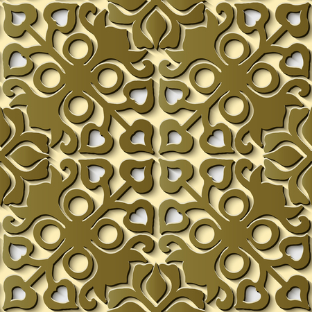 Seamless relief sculpture decoration retro pattern gold round cross geometry flower kaleidoscope. Ideal for greeting card or backdrop template design