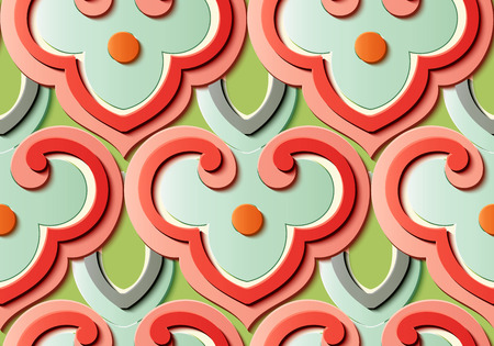 Seamless relief sculpture decoration retro pattern oriental curve round cross dot frame chain. Ideal for greeting card or backdrop template design Illustration