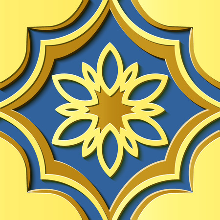 Seamless relief sculpture decoration retro pattern Chinese royal yellow curve cross frame flower kaleidoscope. Ideal for greeting card or backdrop template design