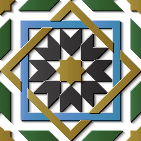 Nahtlose Reliefskulptur Dekoration Retro Muster Stern Geometrie Quadrat Kreuz Rahmen Kette Stern Blume. Ideal für Grußkarten- oder Hintergrundschablonendesign Vektorgrafik