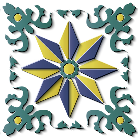 Seamless relief sculpture decoration retro pattern spiral curve cross leaf vine star flower crest. Ideal for greeting card or backdrop template design