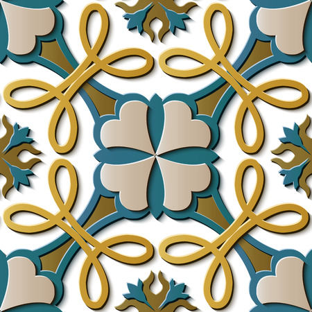 Nahtlose Reliefskulptur Dekoration Retro Muster Kurve Kreuzrahmen Rebe Blume Kaleidoskop. Ideal für Grußkarten- oder Hintergrundschablonendesign