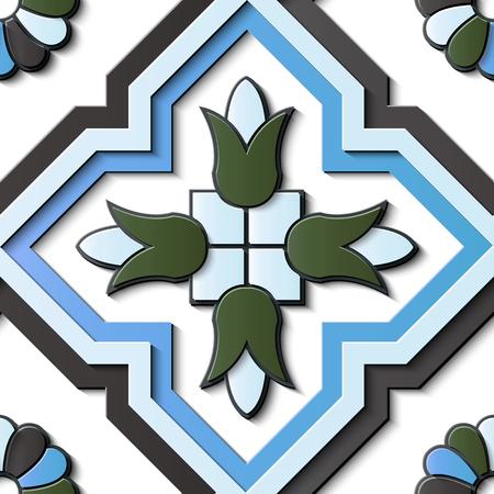 Nahtlose Reliefskulptur Dekoration Retro Muster Polygon Kreuz Geometrie Rahmen Linie Blume Kaleidoskop. Ideal für Grußkarten- oder Hintergrundschablonendesign