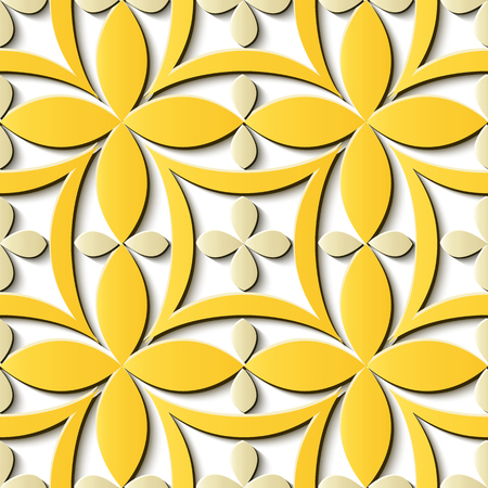 Seamless relief sculpture decoration retro pattern yellow curve cross frame chain flower. Ideal for greeting card or backdrop template design