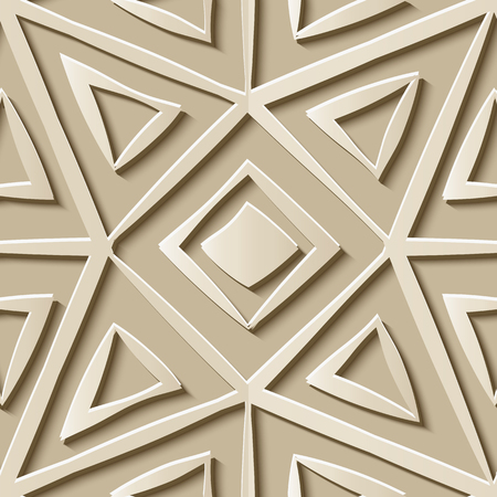 Seamless relief sculpture decoration retro pattern polygon check square geometry cross frame kaleidoscope. Ideal for greeting card or backdrop template design