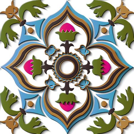 Seamless relief sculpture decoration retro pattern spiral curve cross colorful frame vine leaf flower. Ideal for greeting card or backdrop template design