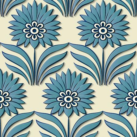 Seamless relief sculpture decoration retro pattern oriental blue garden flower leaf. Ideal for greeting card or backdrop template design Illustration
