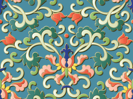 Seamless relief sculpture decoration retro pattern Chinese botanic spiral curve vine leaf flower. Ideal for greeting card or backdrop template design