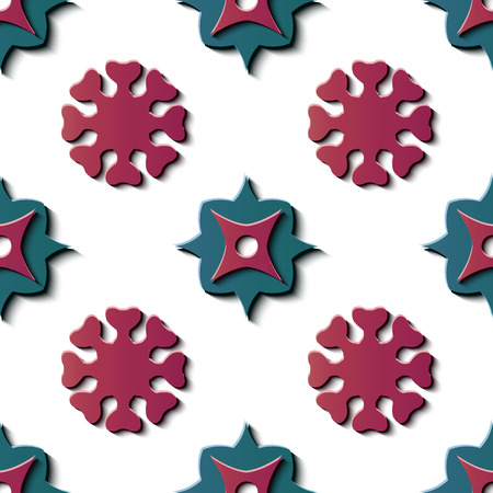 Seamless relief sculpture decoration retro pattern round star curve cross geometry flower kaleidoscope. Ideal for greeting card or backdrop template design