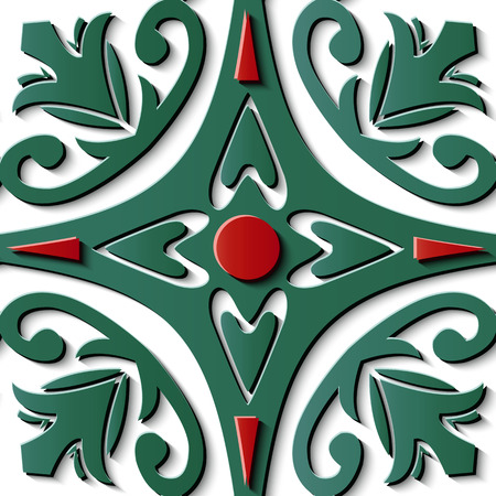Seamless relief sculpture decoration retro pattern green curve cross spiral vine leaf flower kaleidoscope. Ideal for greeting card or backdrop template design