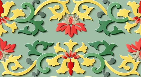 Seamless relief sculpture decoration retro pattern nature garden flower leaf vine. Ideal for greeting card or backdrop template design