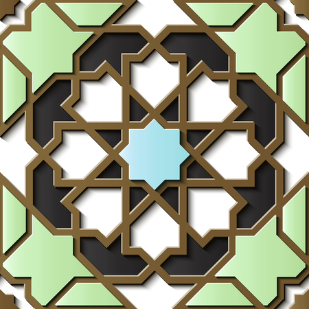 Seamless relief sculpture decoration retro pattern Islamic geometry polygon star cross frame kaleidoscope. Ideal for greeting card or backdrop template design Illustration