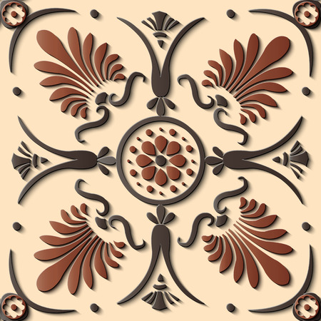 Seamless relief sculpture decoration retro pattern round curve cross fan shape leaf flower. Ideal for greeting card or backdrop template design