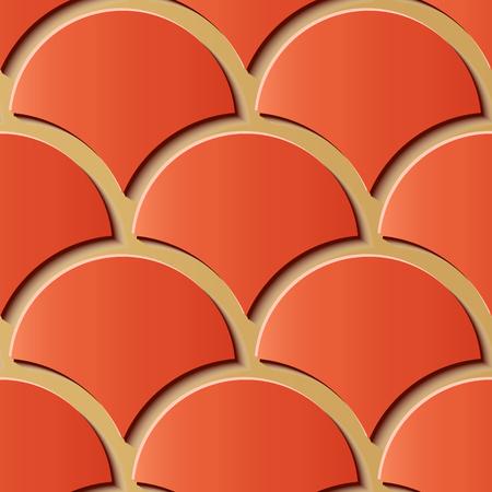 Nahtlose Reliefskulptur Dekoration Retro Muster Chinesische Rotgold Kurve Kreuzskala Geometrie Rahmenlinie. Ideal für Grußkarten- oder Hintergrundschablonendesign