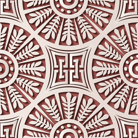 Seamless relief sculpture decoration retro pattern round spiral cross leaf frame chain. Ideal for greeting card or backdrop template design Illustration